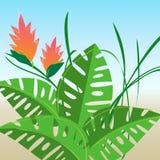 цветет ретро стилизованное тропическое Стоковое Изображение