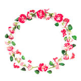 Цветет состав Венок сделанный из свежих роз и высушенных цветков на белой предпосылке Плоское положение, взгляд сверху Стоковое Изображение