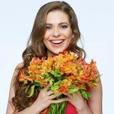 цветет счастливая женщина усмешка toothy стоковая фотография