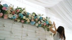 Цветет украшение свадьбы события сток-видео
