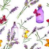 Цветки лаванды, флаконы духов масла, бабочки Повторять картину для косметики, дух, дизайн красоты Винтаж Стоковое Фото