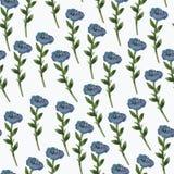 Цветки акварели голубые на белой предпосылке иллюстрация штока