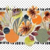 Цветки акварели и листья, круг формируют на минимальной предпосылке текстур doodle Стоковые Изображения