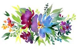Цветки акварели Флористическая иллюстрация с листьями и бутонами Ботанический состав для поздравительной открытки свадьбы или bra иллюстрация штока