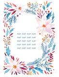 Цветки акварели богато украшенные, падуб, семена, венок хворостин ели иллюстрация штока