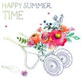 Цветки акварели и вагонетка сада Стоковые Фотографии RF