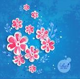Цветки акварели на голубой предпосылке Стоковая Фотография RF