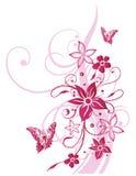 Цветки, бабочка, лето, розовое Стоковое фото RF