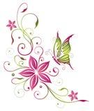 Цветки, бабочка Стоковая Фотография