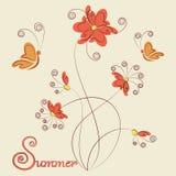 Цветки, бабочки и подпись лета бесплатная иллюстрация