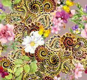 Цветки, бабочки и шикарный индийский орнамент Современная флористическая предпосылка Картина Walatercolor безшовная иллюстрация вектора