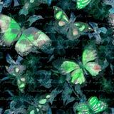Цветки, бабочки ночи, письмо письменного текста руки акварель Безшовная картина на черной предпосылке Стоковые Изображения RF