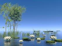 Цветки бамбука и лилии - 3D представляют Стоковая Фотография RF