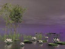 Цветки бамбука и лилии - 3D представляют Стоковое Изображение