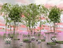 Цветки бамбука и лилии - 3D представляют Стоковая Фотография