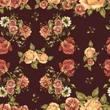 Цветки букета акварели на бургундской предпосылке флористическая картина безшовная Стоковая Фотография RF