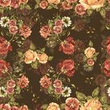 Цветки букета акварели на коричневой предпосылке флористическая картина безшовная Стоковые Фотографии RF