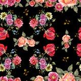 Цветки букета акварели на черной предпосылке флористическая картина безшовная Стоковое Изображение RF
