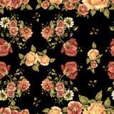Цветки букета акварели на черной предпосылке флористическая картина безшовная Стоковое фото RF