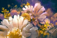 Цветки букета в стиле картины маслом Стоковая Фотография RF