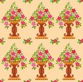 Цветки вазы розовые безшовные Стоковые Изображения RF
