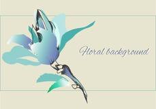 Цветки вектора чернил в нежных свет-голубых цветах иллюстрация вектора