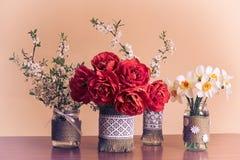Цветки весны в стеклянных опарниках стоковая фотография