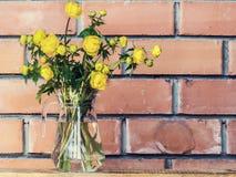 Цветки весны желтые в стеклянной вазе на предпосылке кирпичной стены Стоковые Фото