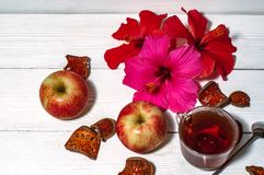 Цветки весны и чай утра Стоковое фото RF