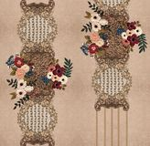 Цветки вышивки золота текстуры иллюстрация вектора