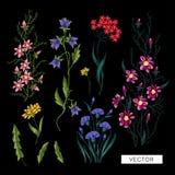 Цветки вышивки Стоковое Изображение