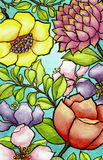 Цветки в акварели Стоковое Фото