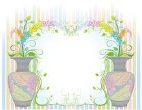 Цветки в вазах с старой картиной Стоковое Изображение RF