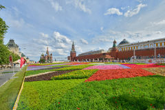Цветки в красной площади Стоковая Фотография RF