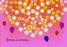 Цветки в форме сердца на красочной предпосылке с весной примечания приходят Стоковое Фото