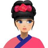 Цветки гейши в ее голове иллюстрация штока