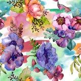 Цветки голубого пурпурного букета флористические ботанические r r стоковое изображение rf