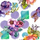 Цветки голубого пурпурного букета флористические ботанические r r стоковые фотографии rf