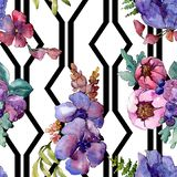 Цветки голубого пурпурного букета флористические ботанические r r стоковые изображения rf