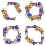Цветки голубого пурпурного букета флористические ботанические r E стоковая фотография
