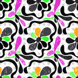 Цветки граффити абстрактные на картине белой предпосылки безшовной vector иллюстрация Стоковые Фото
