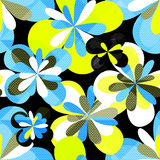 Цветки граффити абстрактные на картине черной предпосылки безшовной vector иллюстрация Стоковая Фотография