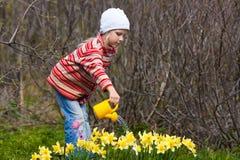 Цветки девушки моча с лейкой Стоковая Фотография