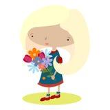Цветки 1 девушки Стоковая Фотография RF