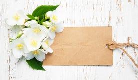 Цветки жасмина и винтажная бирка Стоковое Изображение