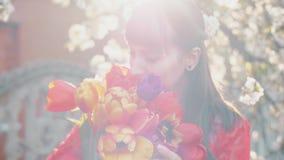 цветки женщиной весны сток-видео