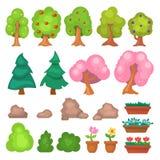 Цветки засевают большие и малые деревья травой сада и цветут иллюстрация вектора элементов парка игры Стоковая Фотография RF