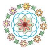 Цветки зеленеют, желтеют, украшают дырочками в круге Стоковая Фотография RF