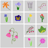 Цветки значков вектора Стоковые Фотографии RF