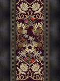 Цветки золота вышивки черноты Джина стоковое фото rf